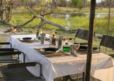 Beautiful Tours Botswana Mobile Safari Camp Dinner Table Setup